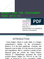 Budget for the Assessment Year 2013-14