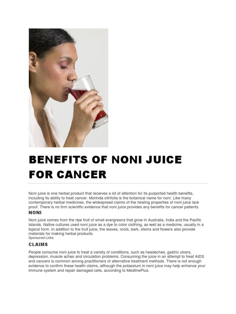 Noni Juice Cancer Medical Specialties