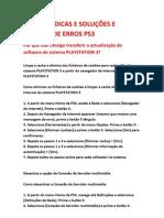SOLUÇOES E CODIGOS DE ERROS PS3