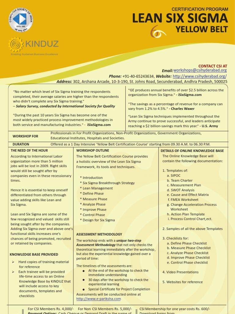 Kinduz Lean Six Sigma Yellow Belt Six Sigma Design For Six Sigma