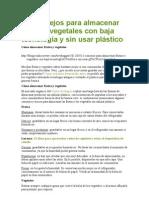 Cómo almacenar frutas y vegetales