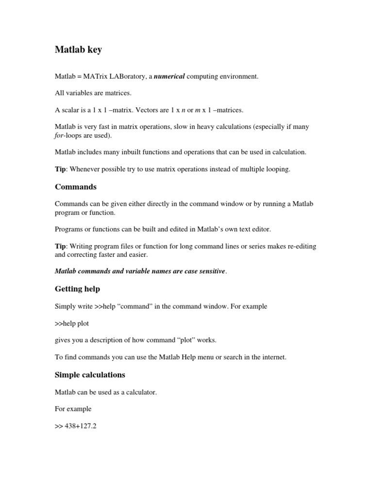 Matlab Key | Matlab | Matrix (Mathematics)