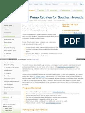 Nevada Power Co - Pool Pump Rebate pdf   Rebate (Marketing