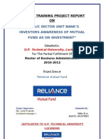 PUBLIC SECTOR UNIT BANK'S INVESTORS AWARENESS OF MUTUAL FUND AS ON INVESTMENT