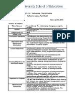 Reflective Lesson Plan Model - 450 6
