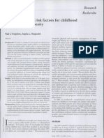 Prevalence of and Risk Factors for Childhood Overweight and Obesity