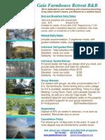 2013 Rates Flyer Gaia Farmhouse B        Rates at Gaia Farmhouse Retreat and B & B