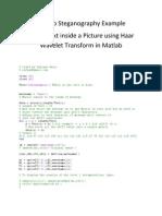 Matlab Steganography Example using Wavelet Transform