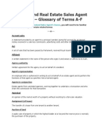 Queensland Real Estate Sales Agent Course - Glossary of Terms A-F