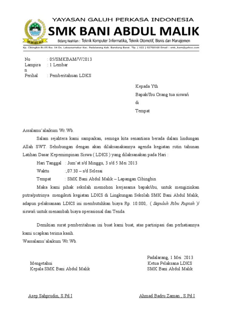 Contoh Surat Resmi Sekolah Smk Arasmi