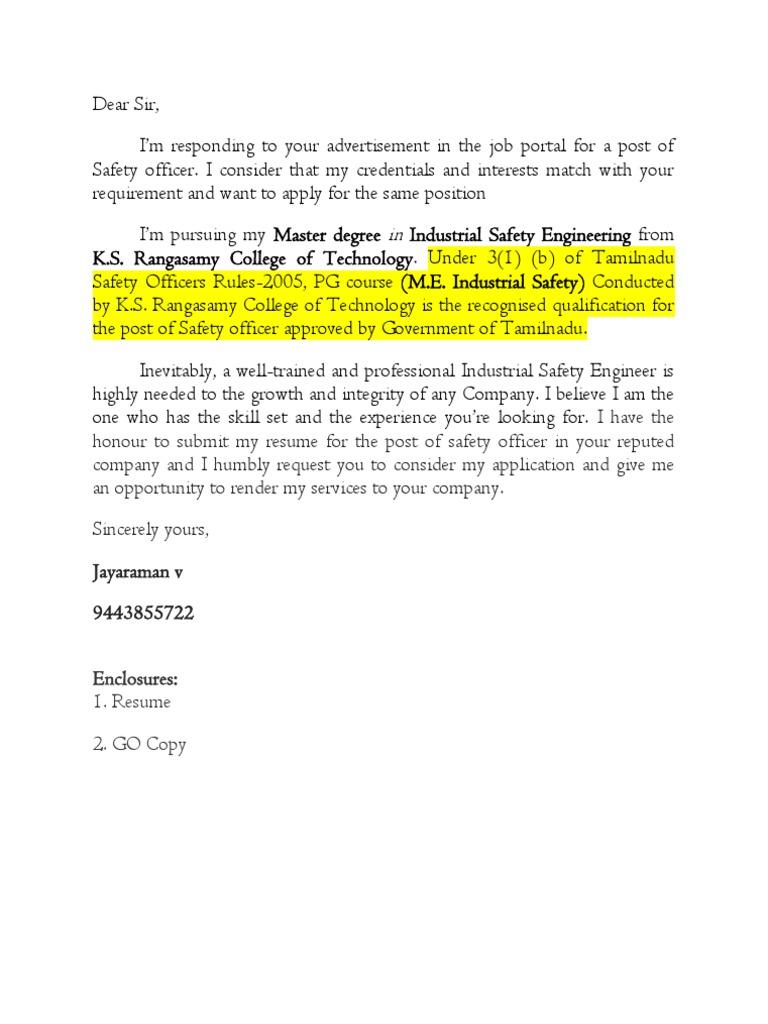 cover letter model for hse officer