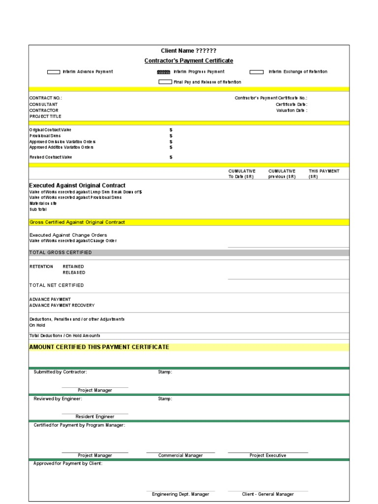 pay certificate sample