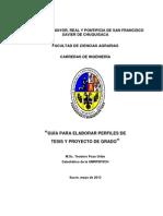 GUÍA PARA ELABORAR PERFILES DE TESIS Y DE PROYECTO DE GRADO