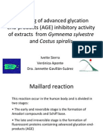 Screening of Advanced Glycation End-Products (AGE) Inhibitory Activity of Extracts from Gymnema Sylvestre and Costus Spiralis