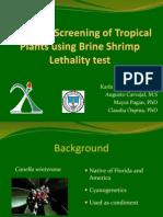 Cytotoxic Screening of Tropical Plants using Brine Shrimp Lethality Test