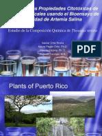 Estudio de las propiedades citotóxicas de plantas tropicales usando el bioensayo de letalidad de artemia salina / Estudio de la composición química de Thouinia Striata
