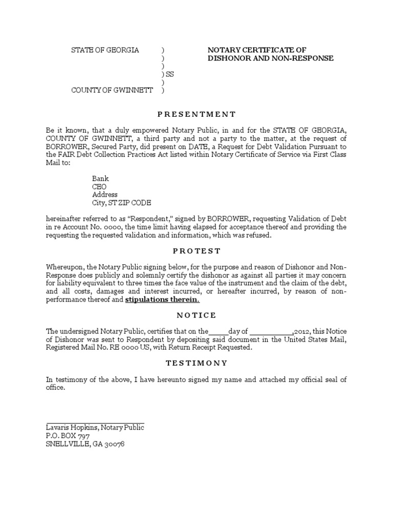 Notary Certificate of Dishonor and Non-Response