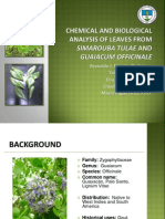 Chemical and Biological Analysis of Leaves from Simarouba Tulae and Guaiacum Officinale