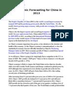 Economic Forecasting - China 2013