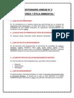 CUESTIONARIO UNIDAD 2 VALORES Y ÉTICA AMBIENTAL. DESARROLLO SUSTENTABLE.