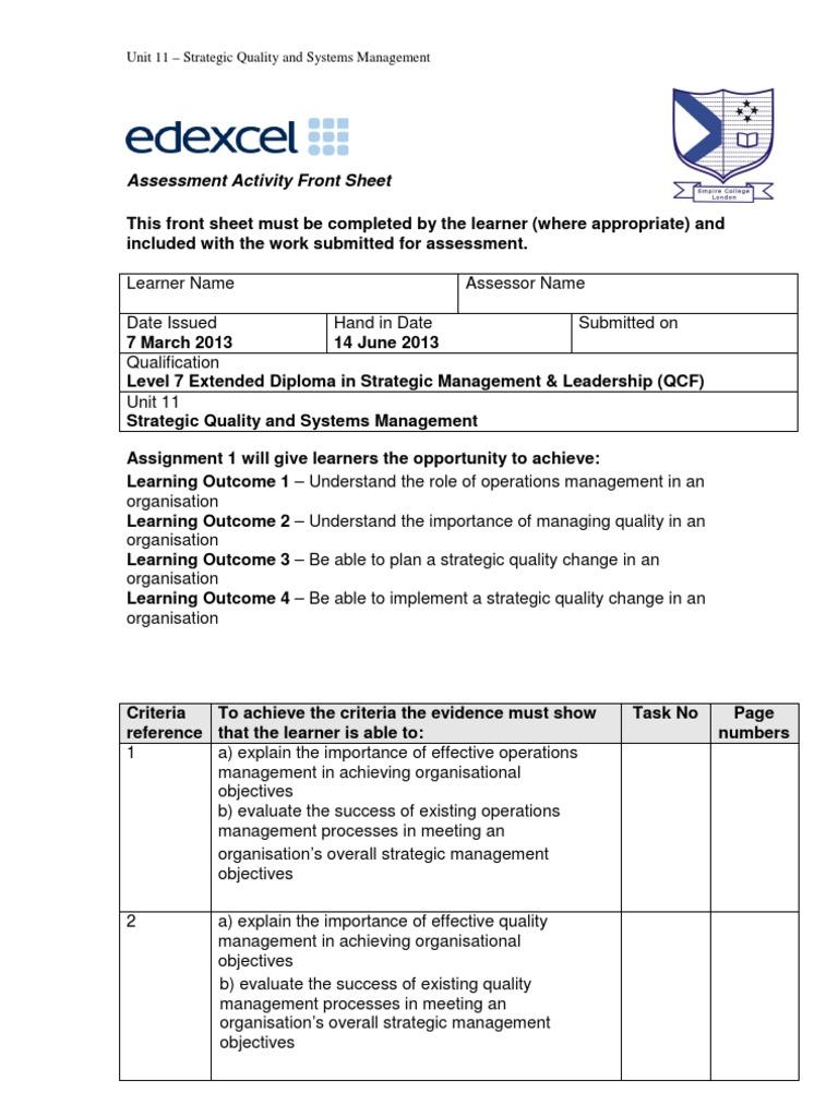 Unit 11 - Strategic Quality and Systems Management | Strategic