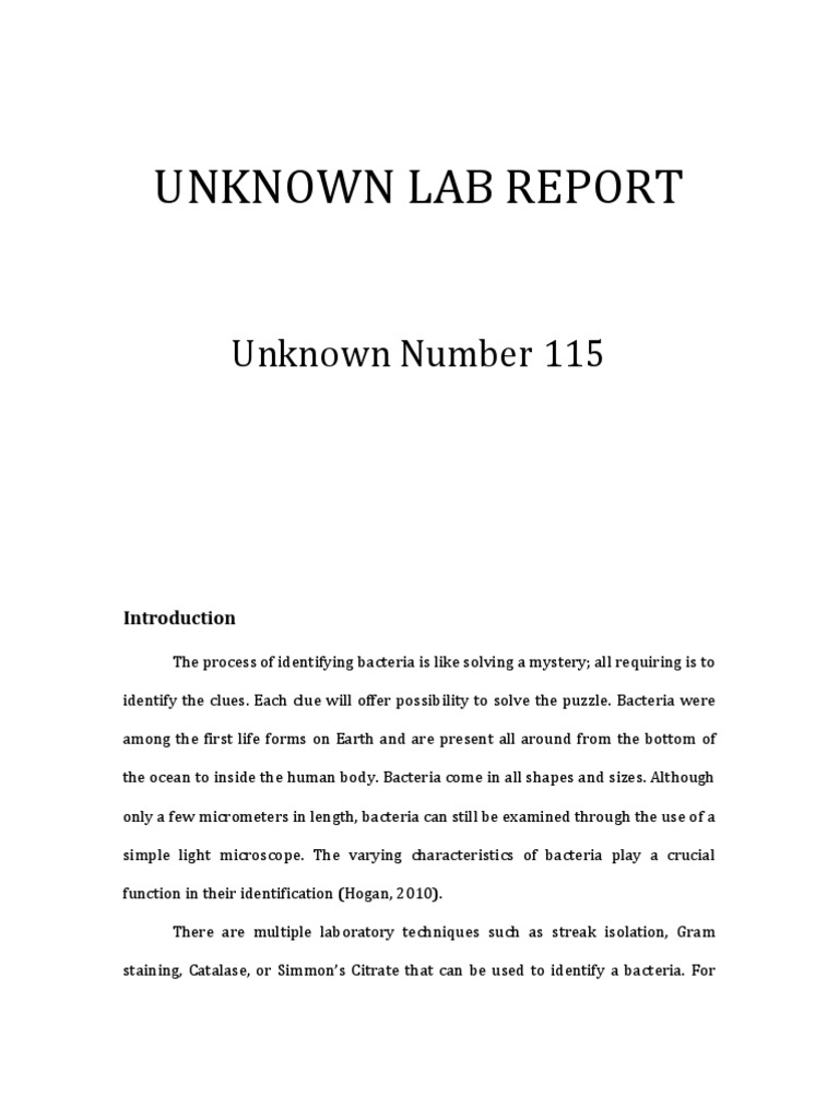 unknown lab report introduction