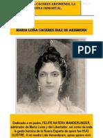 Maria Luisa Caceres Arismendi, La Heroina Inmortal