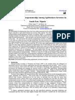 Determinants of Entrepreneurship Among Agribusiness Investors in South-East, Nigeria