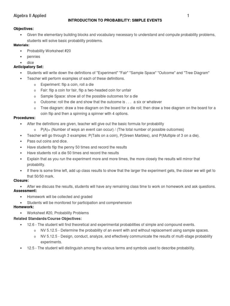 worksheet Probability Review Worksheet probability math unit experiment
