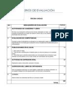 Criterios de Evaluacion 3a. Unidad 2013