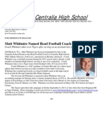 Matt Whitmire Named Head Football Coach