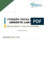 Cuidado Vocal en El Ambiente Laboral