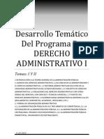 Desarrollo Temático Del Programa De DERECHO ADMINISTRATIVO I