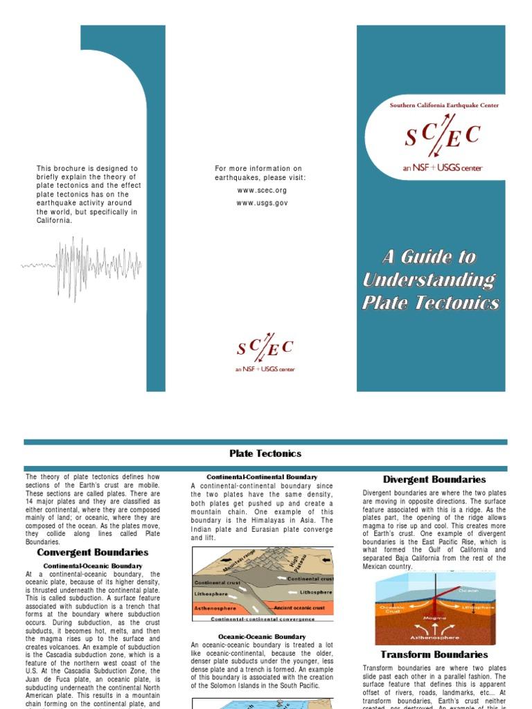 Plate Tectonics Brochure Plate Tectonics Geology