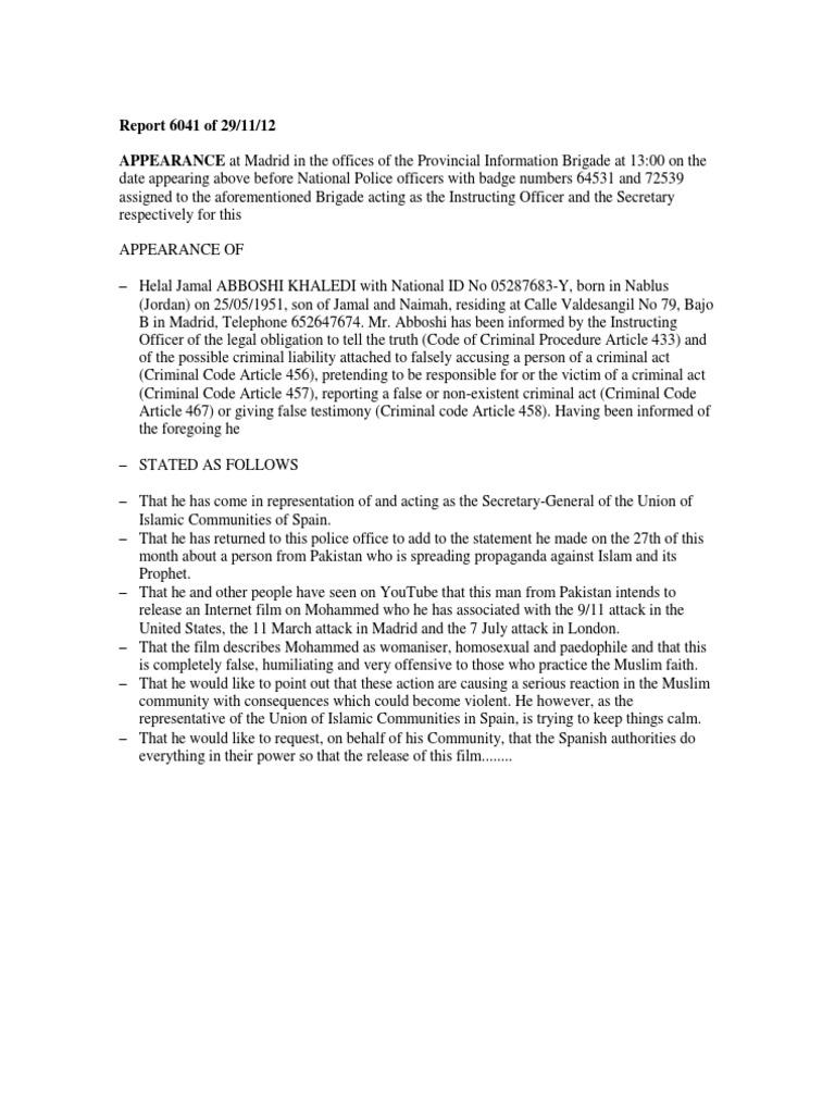 Helal Jamal Abboshi Khaledi Second Sworn Statement Made to Spanish