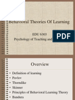 Behavioural Theories of learning