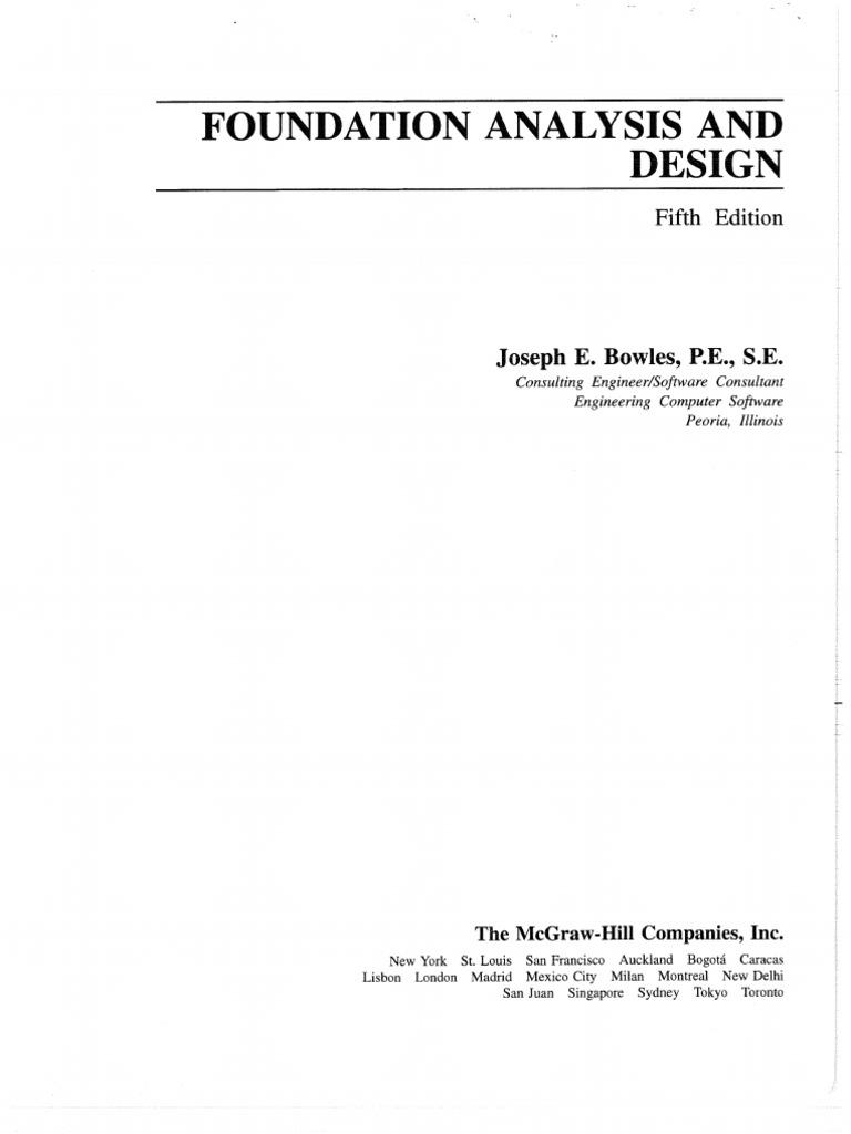 Foundation Analysis And Design 5th Edition Joseph E Bowles