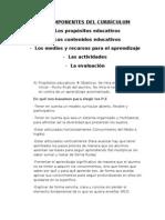 LOS COMPONENTES DEL CURRÍCULUM