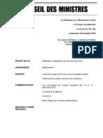 Compte-rendu du Conseil des ministres du 19 décembre 2012