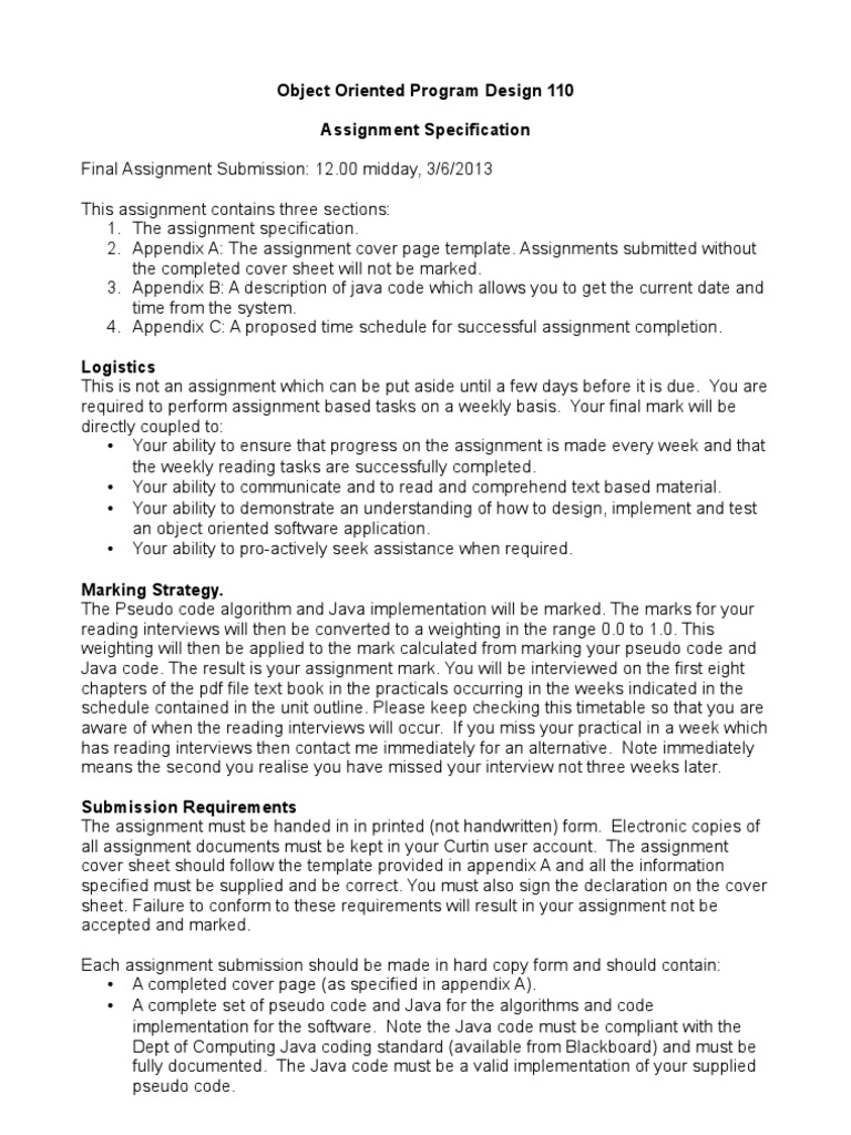 AssignmentSpecification_2 | Input/Output | Code