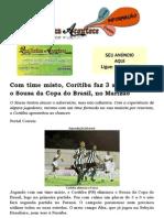 Com time misto, Coritiba faz 3 a 0 e elimina o Sousa da Copa do Brasil, no Marizão