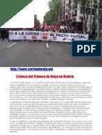 Crónica del Primero de Mayo en Madrid.