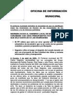 Nota Rueda Prensa Presupuesto Municipal 2008 sin ejecutar