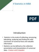 Statistics and MBA