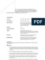 Head Office Administrative Support 2010 Job Description