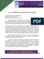 Carta informativa de situación actual Xalapan (Guatemala)