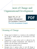 Management of Change and Organizational Development