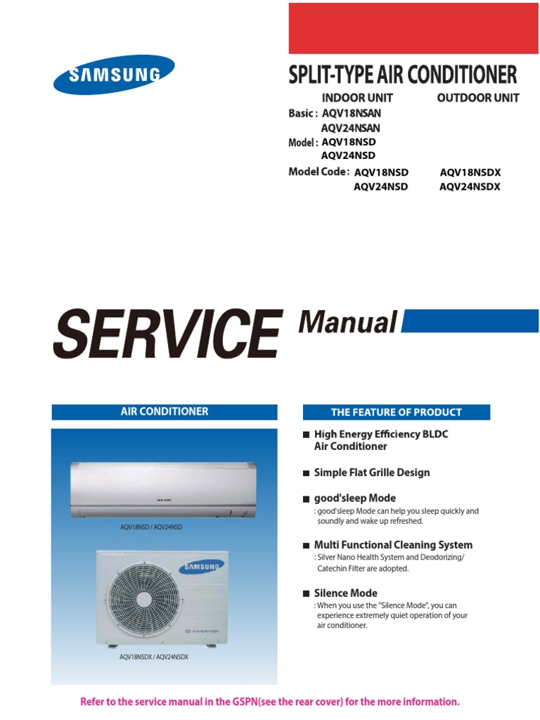 samsung aqv18nsd service manual air conditioning manufactured goods rh scribd com Samsung Split Air Conditioner Parts Samsung Split Air Conditioner Models
