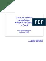 Mapa de conflitos  causados por  Racismo Ambiental  no Brasil