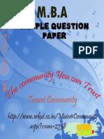 TANCET MBA MODEL QUESTION PAPER & OMR SHEET